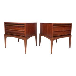 Vintage Modern Walnut Nightstands by Lane Furniture - a Pair