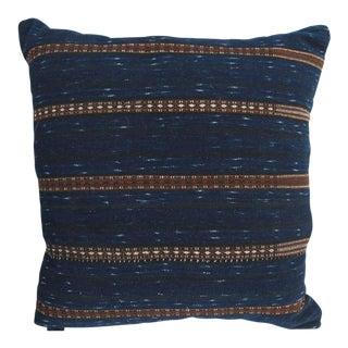 Pair of Indigo Blue Hmong Pillows with Brown Stripes