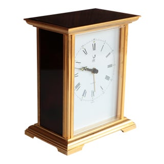 Faux Tortoiseshell and Gold Carriage Clock by Jaz France
