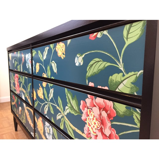 Asian Printed Mid-Century 6-Drawer Dresser - Image 4 of 6