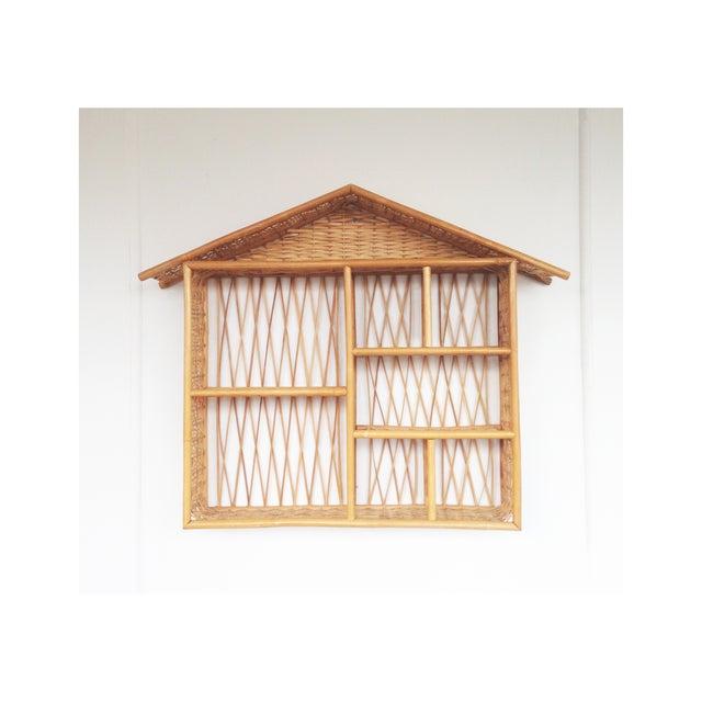 Vintage Rattan Curio House Shelf - Image 2 of 5