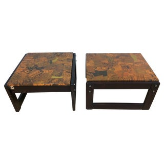 Percival Lafer Copper & Rosewood Side Tables