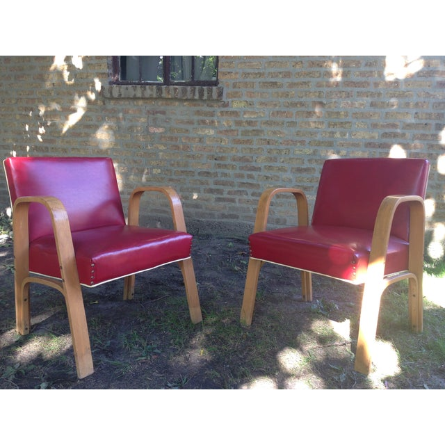 Image of Vintage Mid Century Thonet Style Club Chairs - 2