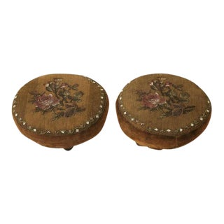 Antique English Lady's Beaded Footstools - A Pair