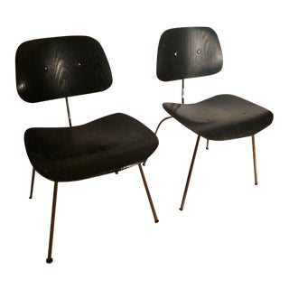 Authentic Eames Herman Miller DCM Ebony Chairs - Pair