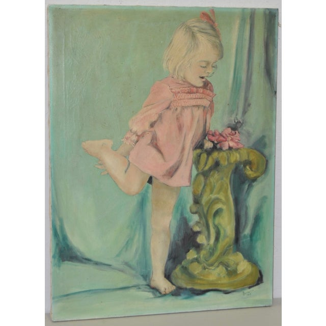 Vintage Oil Portrait of a Young Girl C.1960's - Image 2 of 7