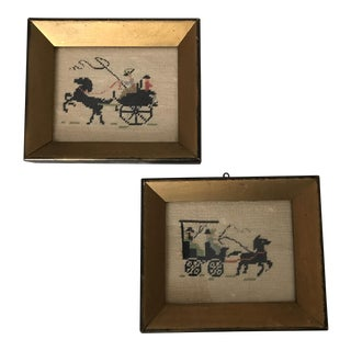 Gilt Wood Framed Petit Needlepoint Panels - A Pair