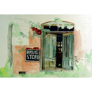 Architectural Drug Store Study Watercolor Painting