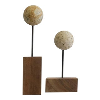 Antique Cannonball Art Pieces - A Pair