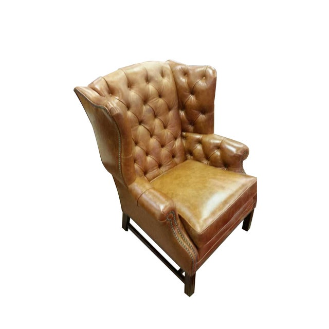 Refurbished Genuine Leather Wing Chair - Image 1 of 7