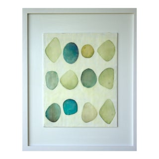 "Gina Cochran Framed Original Encaustic Collage ""Collections in Sea Glass"""