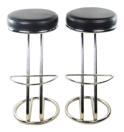 italian midcentury modern round seat black leather barstools with chrome base a pair