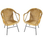 Image of Mid-Century Rattan & Iron Arm Chairs