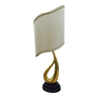 Modern Art Deco Brass Lamp & Silk Shade