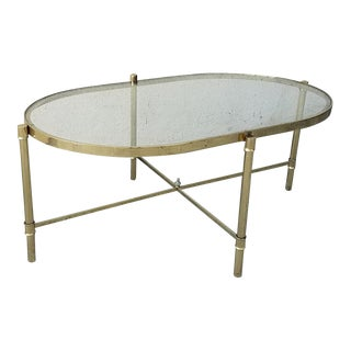 Brass & Glass Faux Bamboo Coffee Table