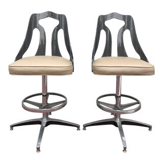 Mid-Century Vintage Smoked Lucite Swivel Barstool - A Pair