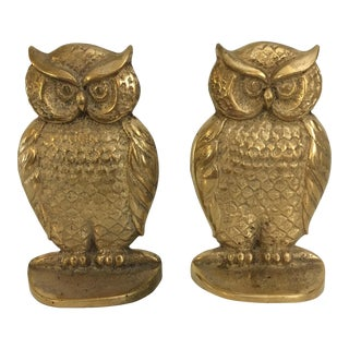 Vintage Brass Owl Bookends - A Pair