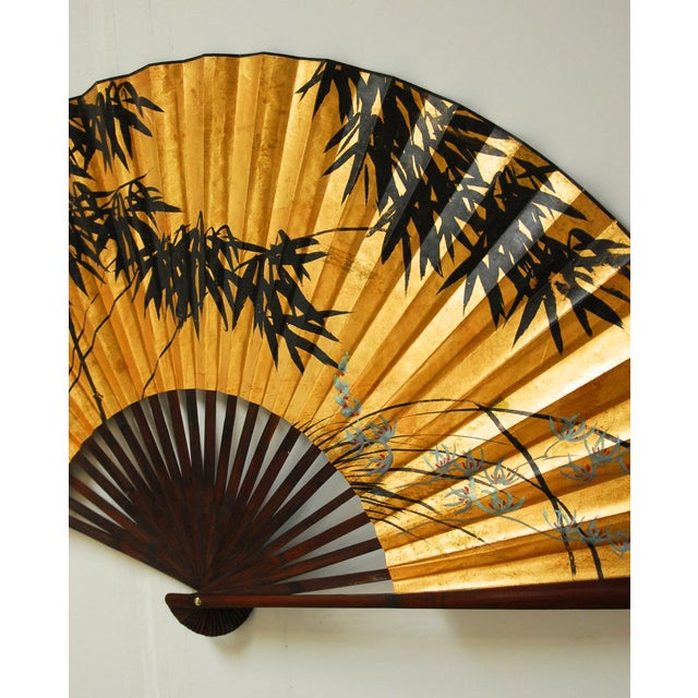 Gilt Painted Japanese Folding Wall Fan - Image 3 of 5