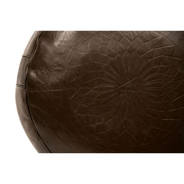 Solid Brown Leather Pouf - Image 2 of 3