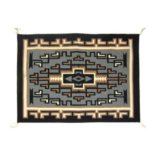 "1960s Two Gray Hills Navajo Tapestry 2' 4""x 3' 3"""
