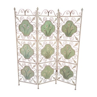 3 Panel Painted Wrought Iron Screen