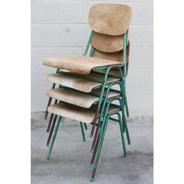 Vintage French Stacking Steel, Bentwood and Leather Schoolhouse Dining Chairs - Set of 4 - Image 11 of 11