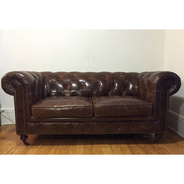 Chesterfield Sofa Brown Leather - Image 2 of 5