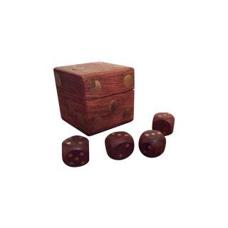 Walnut & Brass Boxed Set of Dice
