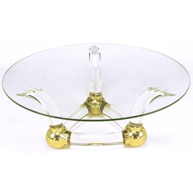 Round Coffee Table With Thick Curved Lucite & Brass Ball Base - Image 2 of 7