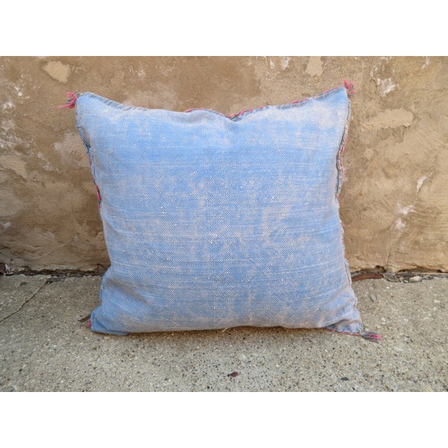 Moroccan Blue Sabra Cactus Silk Pillow - Image 3 of 4