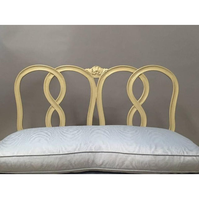 Hollywood Regency Style Painted Wood & Down Cushion Loveseat - Image 2 of 5