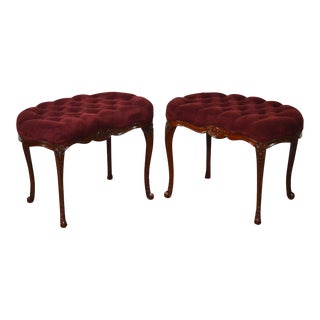 French Louis XV Style Pair of Tufted Mahogany Stools Benches