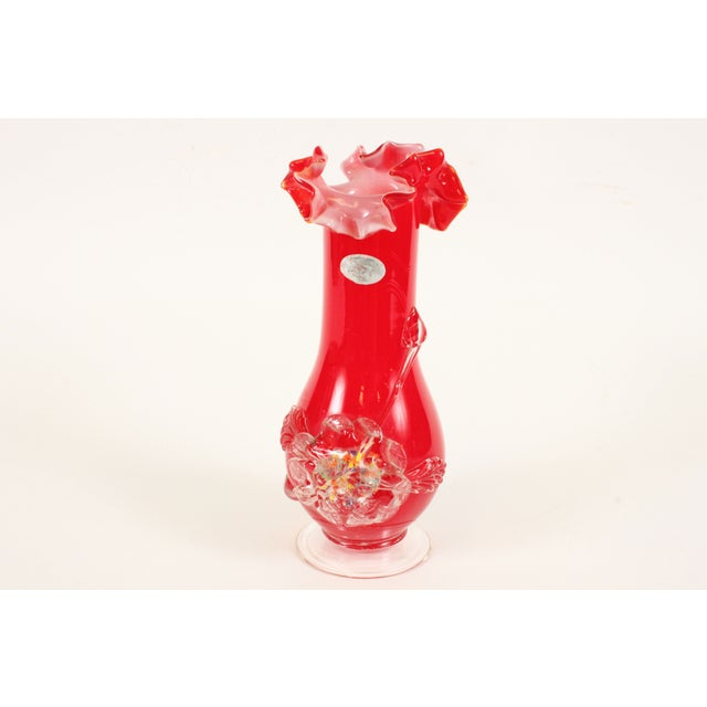 Image of Italian Hand Blown Red 60s Art Glass Vase