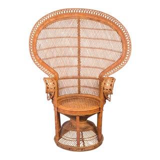 1970s Emmanuelle Woven Rattan Peacock Chair