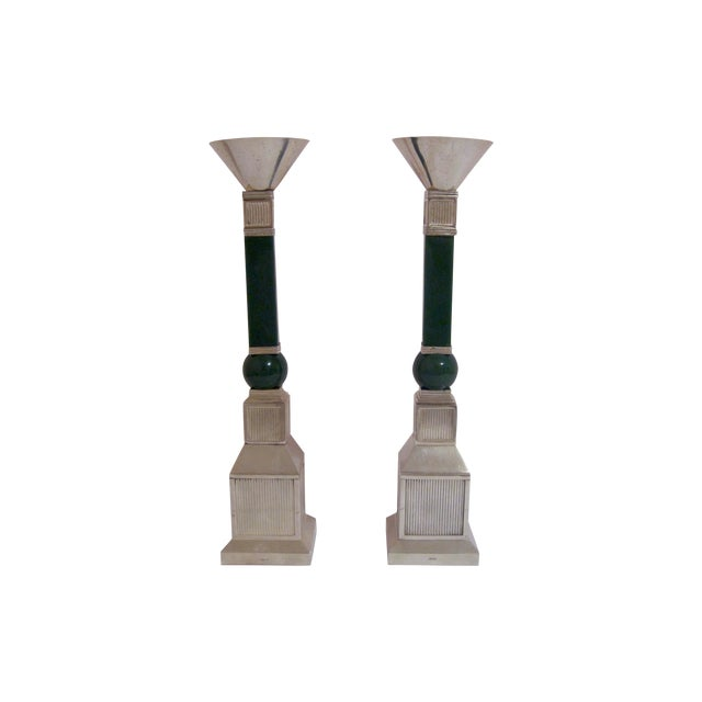 Image of Gucci Mid-Century Silver Plate Candlesticks - Pair