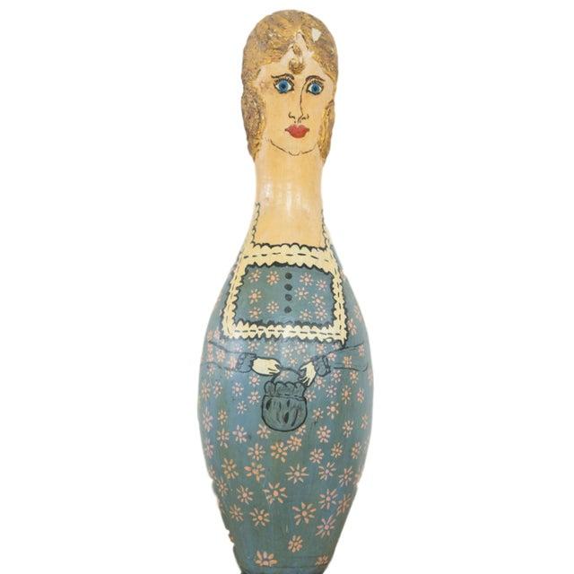Vintage Folk Art Painting Bowling Pin - Image 1 of 6