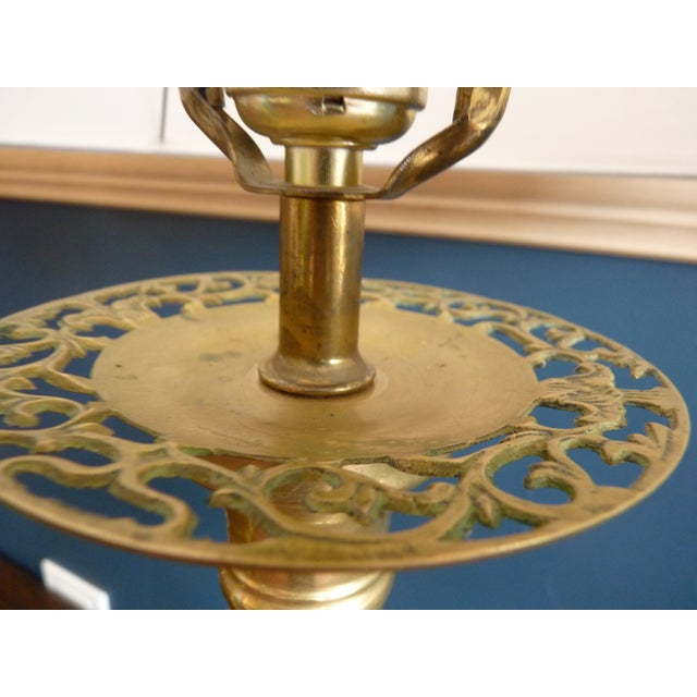 Image of Punched Brass Column Table Lamp