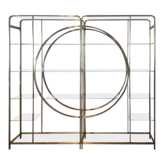 Design Institute of America Milo Baughman Vintage Brass Etagere Shelves - a Pair
