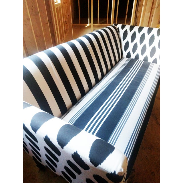 Black & White Stripe Ikat Loveseat - Image 4 of 5