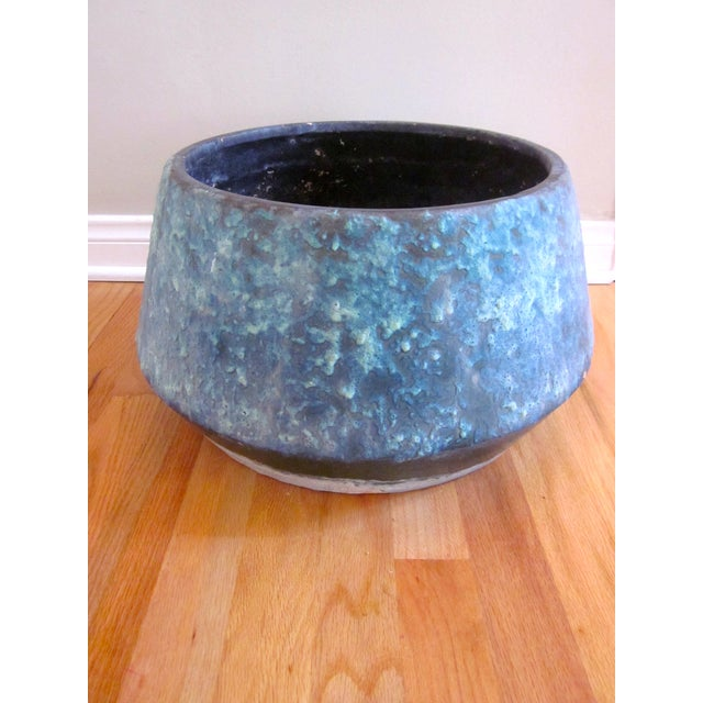 Mid-Century Blue Fat Lava Glaze Drip Planter Pot - Image 2 of 10