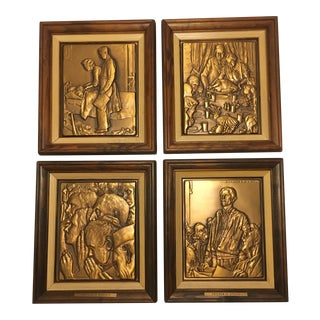 Bronze Norman Rockwell 'Four Freedoms' Plaques