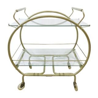 Vintage MCM Bauhaus Style Metal & Glass Bar Cart