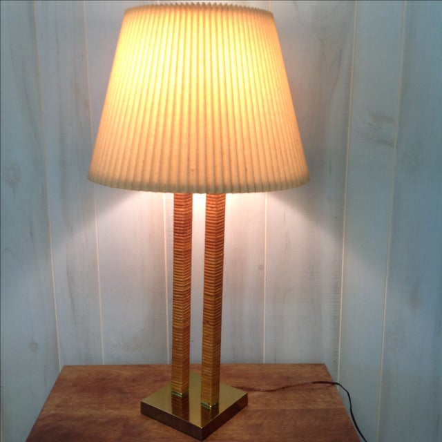 Image of Hollywood Regency Rattan Wrapped Brass Table Lamp