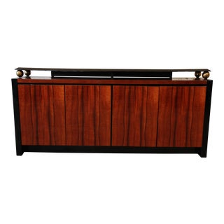 Henredon Elan Collection Black Lacquer & Koa Wood Credenza