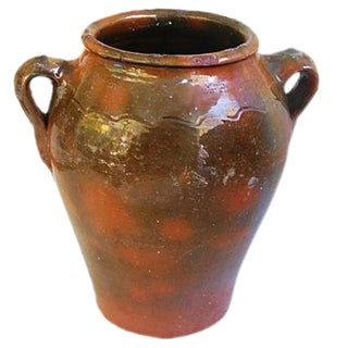 Large Double-Handled Antique French Brown Glazed Confit Pot