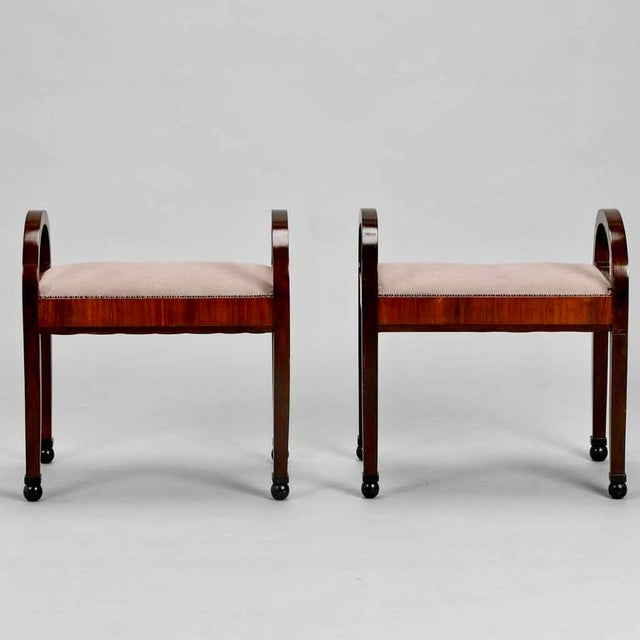 French Art Deco Upholstered Benches - A Pair - Image 7 of 10
