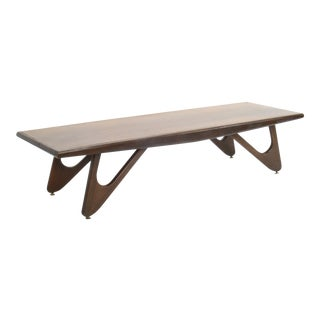 Mersman Mid-Century Modern Adrian Pearsall Attributed Walnut Surfboard Coffee Table