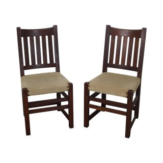 Limbert Antique Mission Oak Dining Chairs - A Pair