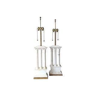 Italian Carrara Marble Tall Columned Lamps, Pr.
