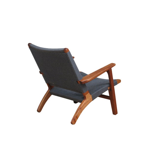 Mid Century Modern Gray Mahogany Lounge Chair - Image 4 of 5